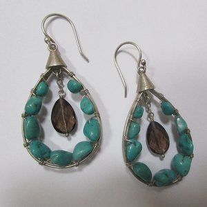 large turquoise earrings smoky quartz 925 sterling
